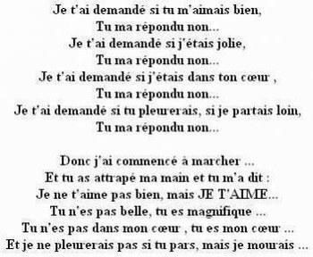 Poeme amour for A quoi ressemble ta maison paroles